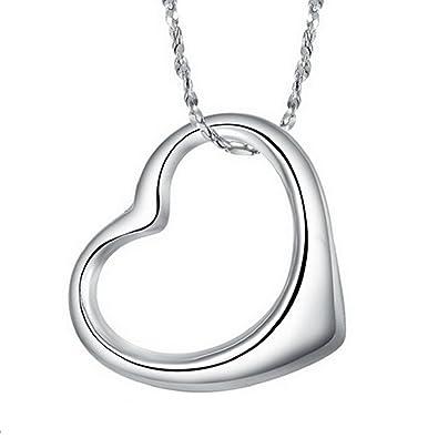 aad519e456f9a Romantique-Collier Femme-Pendentif coeur-en argent sterling 925 pour fille  Collier pour