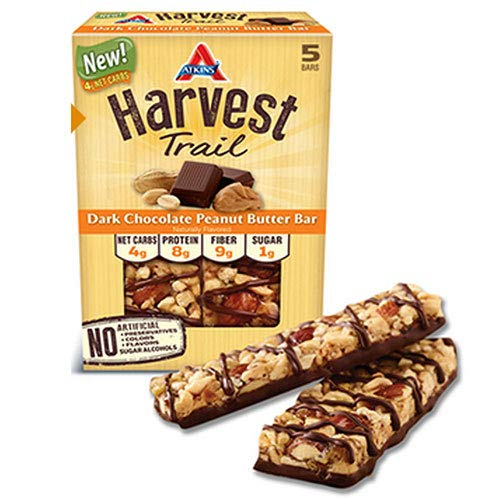 (Atkins Harvest Trail Dark Chocolate Peanut Butter Bar 1.3oz 5 Count (2)
