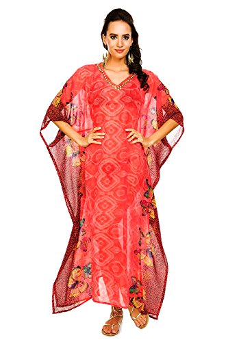 Mujer Larga Kimono Maxi De Verano Manta Para Playa Vestido Kaftán Tamaño Libre Orange-321
