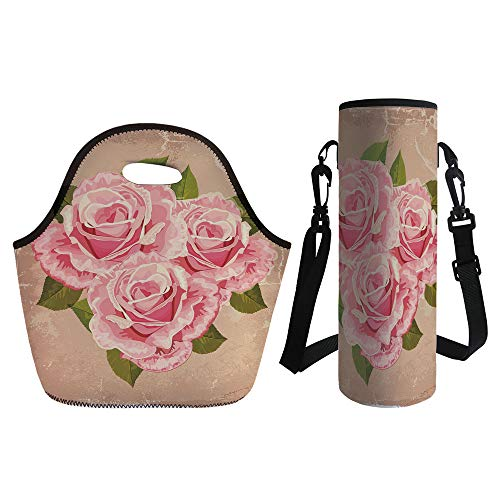 3D Print Neoprene lunch Bag with Kit Neoprene Bottle Cover,Rose,Pink Bouquet of Roses Retro Design Nature Love Romance Theme Grunge Display Decorative,Tan Pale Pink Green,for Adults Kids