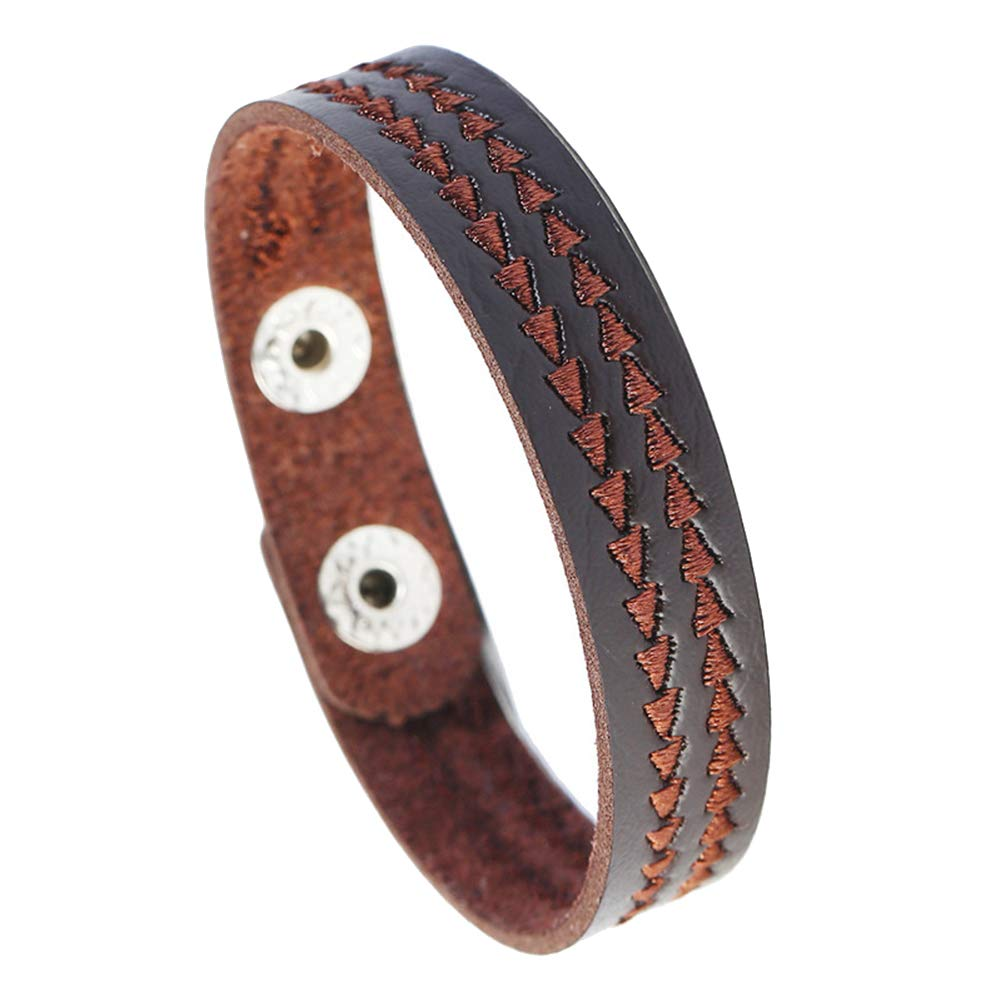 Potato001 Punk Embroidery Triangle Faux Leather Unisex Couple Bracelet Bangle Jewelry Gift Brown