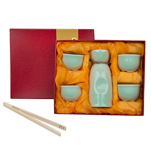 5 Piece Japanese Sake Cup Set ( + Bamboo Cup Clip ) Celadon Hand Painted Design Porcelain Pottery Traditional Ceramic Cups Crafts Wine Glasses