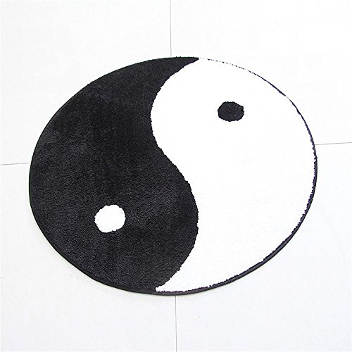 (TOYM The Study Of Simple Round Gossip Carpet Tai Chi Black And White Yin And Yang Fish Sitting Mats ( Size : Diameter 90cm)