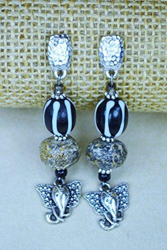 Black & White Woolly Mammoth Elephant Earrings (Mammoth Ivory Jewellery)