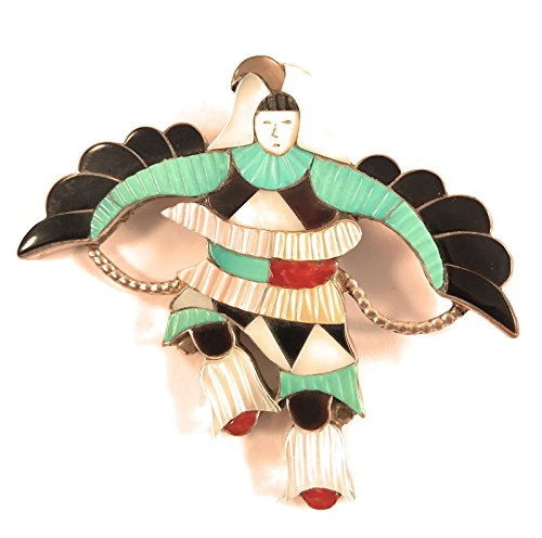 Vintage Zuni Kachina Dancer Sterling Silver Multi-stone for sale  Delivered anywhere in USA