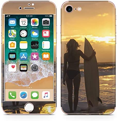 igsticker iPhone SE 2020 iPhone8 iPhone7 専用 スキンシール 全面スキンシール フル 背面 側面 正面 液晶 ステッカー 保護シール 006520 写真・風景 写真 海 夕日 人物