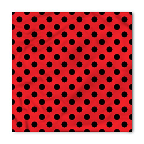 Ambesonne Red and Black Bandana, Pop Art Polka Dots, Unisex Head and Neck Tie