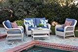Quality Outdoor Living 65-51018D Seacrest All-Weather Wicker 4 Piece Deep Seating Set, White Blue Cushions