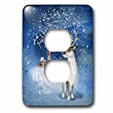 3dRose Uta Naumann Watercolor Illustration Animal - Winter Is In the Air-Christmas Deer with Blossoming Antlers in Winter - Light Switch Covers - 2 plug outlet cover (lsp_272899_6)