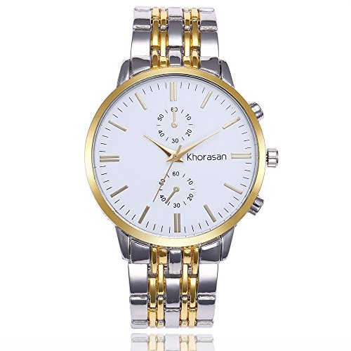 Euone Luxury Watch Stainless Steel Watch for Men's Quartz Analog Wrist Watch (White)