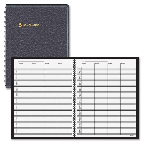 Recycled Four-Person Group Undated Daily Appointment Book, 8-1/2 x 11, Black by (Recycled 4 Person)