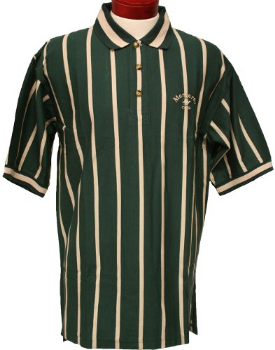 (Monterey Club Men's Short Sleeve Vertical Stripe Jersey Shirt #3072 (Evergreen/Stone,Large))