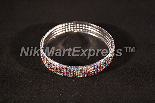 (SILVER PLATED METAL MULTI COLOR AUSTRIAN RHINESTONE CRYSTAL BANGLE BRACELET 4R )