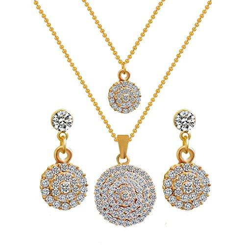 Usstore 1Set Women Bride Necklace Earrings ,Rhinestone Alloy Geometric Pendant Rhinestone Chain Jewelry Gift For Anniversary Wedding Party