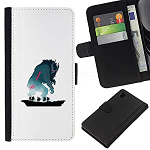 NEECELL GIFT forCITY // Billetera de cuero Caso Cubierta de protección Carcasa / Leather Wallet Case for Sony Xperia Z1 L39 // Monstruo de cuernos