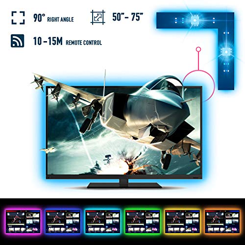 RSYEEK LED Strip Lights/RGB TV Backlight for 50-75 Inch USB HDTV Bias Lighting Powered with Rf Remote Control Light Kit with 20 Colors,22 Modes for Flat Screen TV PC Desktop