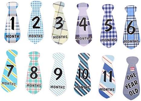 Zhaoke 12PCS Pegatinas de Meses para Bebé en Forma de Corbata para ...