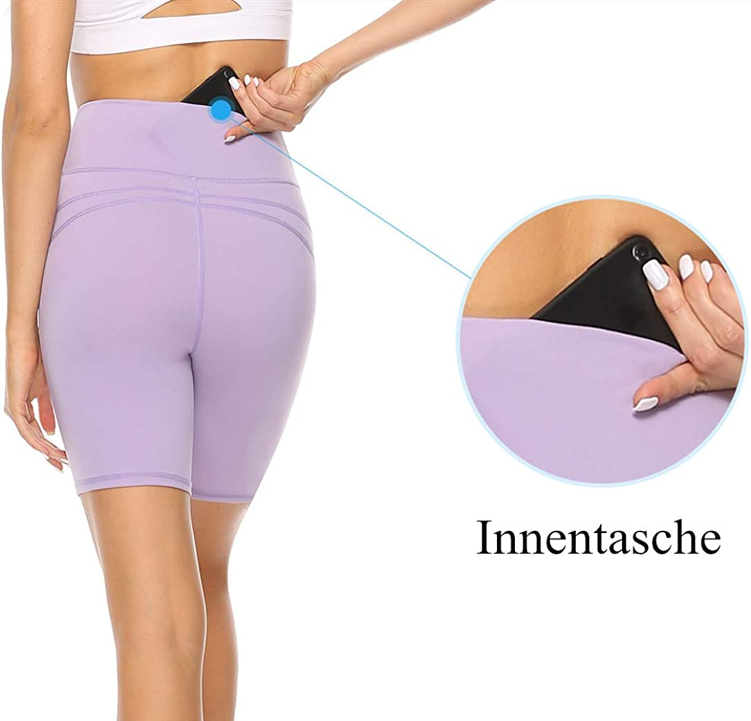 Yogahose Sporthose Blickdicht Hohe Taille Shorts Persit Damen Kurz Sport Leggings