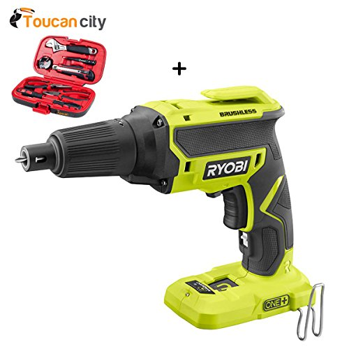 Toucan City Tool Kit (9-Piece) and Ryobi 18-Volt ONE+ Brushless Drywall Screw Gun (Tool Only) P225
