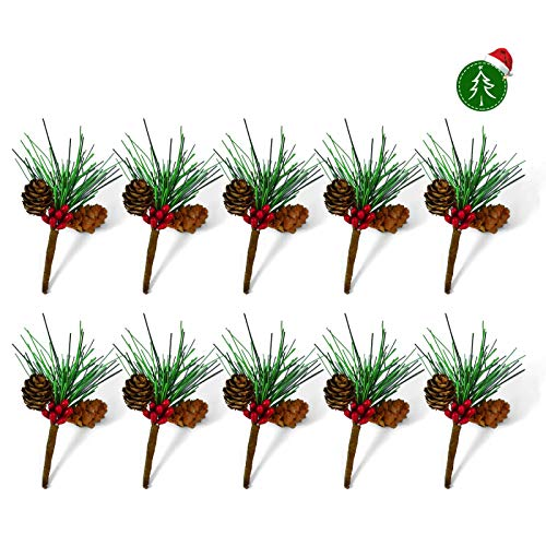 Rocinha Artificial Pine Picks Christmas Picks with Fake Berries Pinecones Christmas Gift Wrapping Decor, Pack of 10, 3.5 Inches