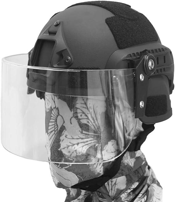 QZY Mich 2000 Casco Táctico con Máscara de Protección Antidisturbios Transparente, SWAT Combat PJ Tipo Casco Rápido para CQB Shooting Airsoft ...