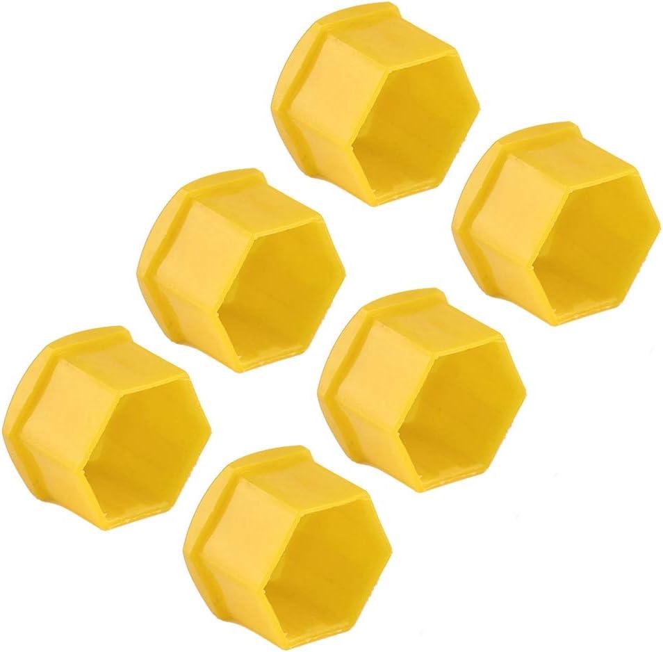 Amarillo Suuonee Cubierta del cubo de la rueda 20 piezas Tuerca de 21 mm Rueda del coche Protecci/ón del tornillo del cubo autom/ático Tapa de la cubierta antirrobo