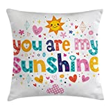 Ambesonne Quote Throw Pillow Cushion Cover, Cute Love Text Print Made by Fun Happy Animal and Heart Figures Kids Nursery Theme, Decorative Square Accent Pillow Case, 28 X 28 Inches, Multicolor