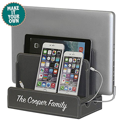 G.U.S. Personalized Monogrammed Multi-Device Charging Station Dock & Organizer - Multiple Finishes Available. For Laptops, Tablets, and Phones - Strong Build, Gray Leatherette (Textured)