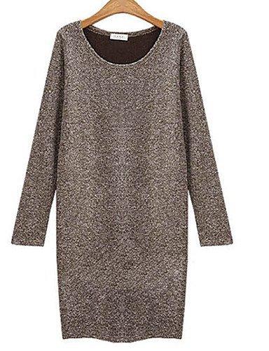 GSP-Damen Kleid - Übergrößen Übergröße / Sexy Solide Übers Knie Baumwolle Rundhalsausschnitt