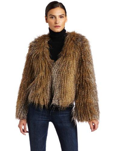 HALSTON HERITAGE Women's Faux Faux Fur Coat