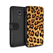 STUFF4 PU Leather Wallet Flip Case/Cover for Samsung Galaxy S5 Neo/G903 / Yellow Design / Leopard Animal Skin/Print Collection