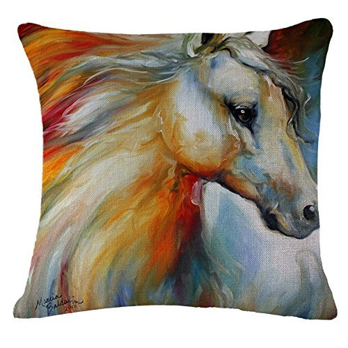 Oil Painting Horse Hand Painted Throw Pillow Case Cotton Blend Linen Cushion Cover Sofa Decorative Square 18 Inches(1) -