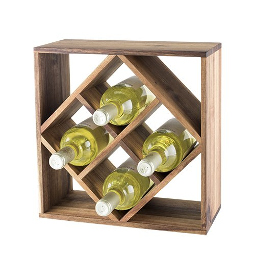 Twine 5911 Acacia Wood Lattice Freestanding Wine Racks and Cabinets