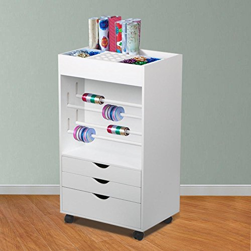 Topeakmart Wood Wrapping Cart + 3 Drawers Organizer Crafts Storage (Large Image)