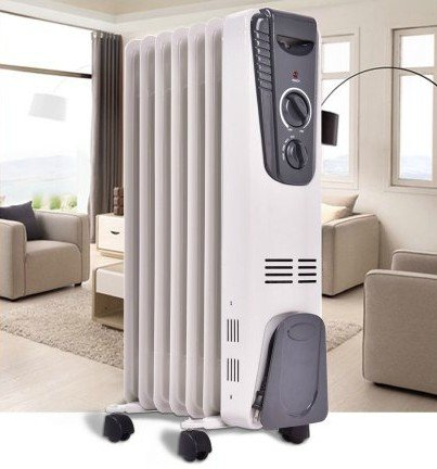 Small Space Heater, Electric oil-filled radiator|Energy Efficient, 5.7 Fin Thermostat, Color White by By Warm Room