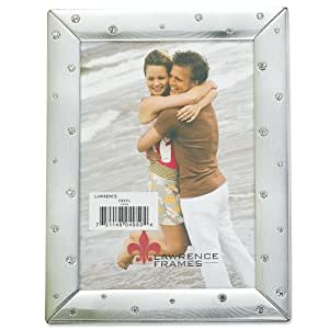 Lawrence Frames Brushed Silver 8 by 10 Metal Picture Frame Decorated with Crystals