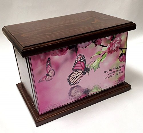 Cremation Urn, Wood funeral Urn, Butterfly and flowers wo...