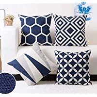 Modern Homes Black 100% Cotton Decorative Throw Pillow/Cushion Covers (Set of 5 with Zip) - 16 x 16 inch/40 x 40 cm