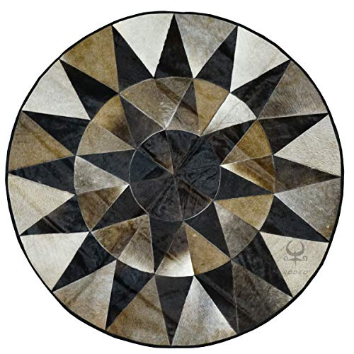 RODEO Patch Work Cowhide Rug with Leather Edging Diameter 60 in
