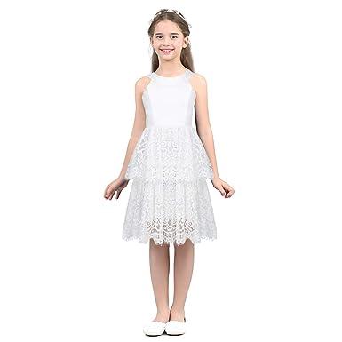 e46ef556a07de TiaoBug Enfant Fille Dentelle Robe Soirée Robe Demoiselle Honneur Mariage Tutu  Robe Danse Bal Robe sans