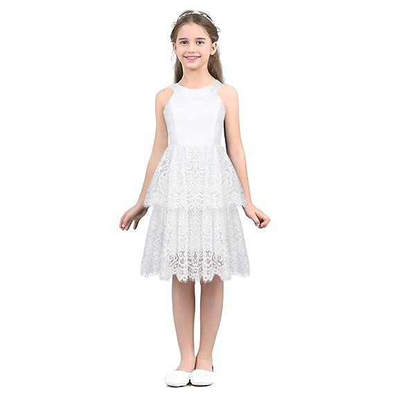 Agoky Niñas Vestido Blanco de Encaje Vestido Flores de Boda ...