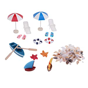 KODORIA Beach Style Miniature Ornament Kits for DIY Fairy Garden Dollhouse Decoration