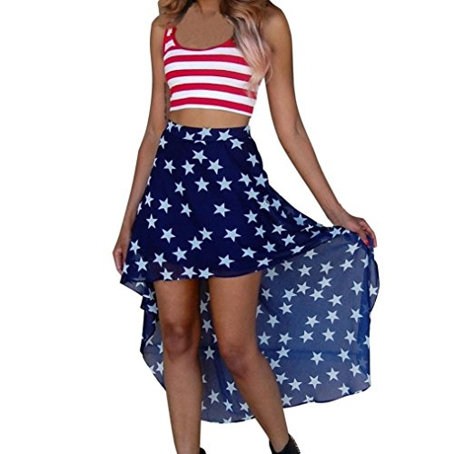 Coohole Women's New Fashion Striped Printed Sleeveless Crop Top Stars Printed Skirt Two-Pieces Set (Blue, L) by Coohole