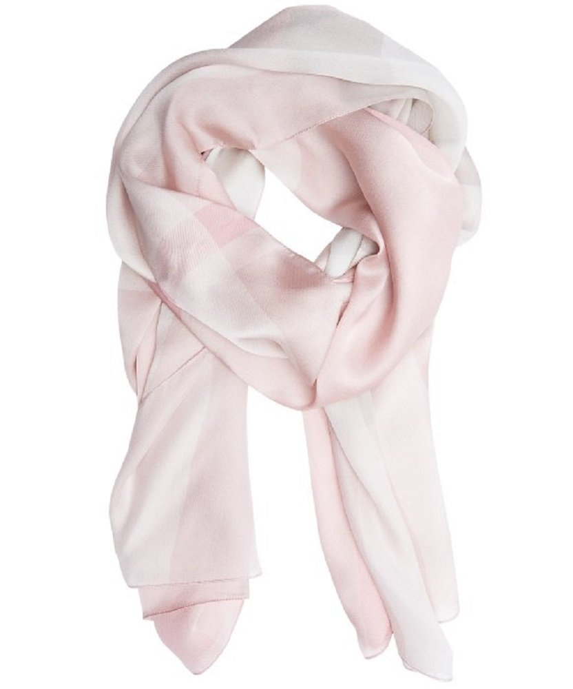 BURBERRY Core Oblong Mega Check Mulberry Silk Scarf in Pale Rhubarb by BURBERRY