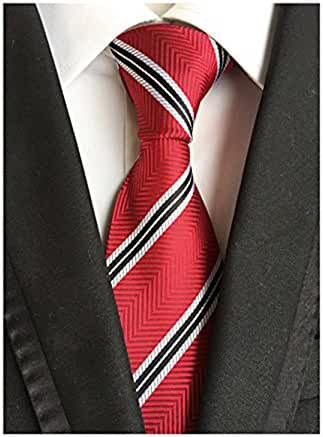 Red Black White Striped Jaquard Woven 100% Silk Men's Ties Business Neckties