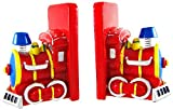 Zeckos Resin Childrens Bookends Charming Red Train Engine Bookends 4 X 6 X 3.5 Inches Red