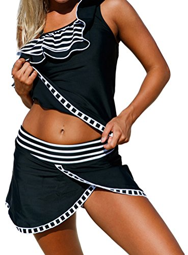 YeeATZ Women Striped Ruffle One Shoulder Tankini Swimsuit (Christian Pumpkin Poem)