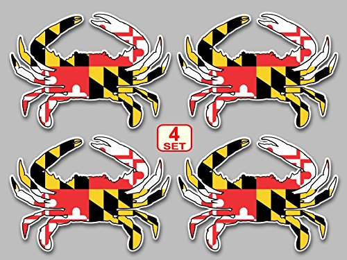 Maryland flag blue crab decal set of 4 size 3