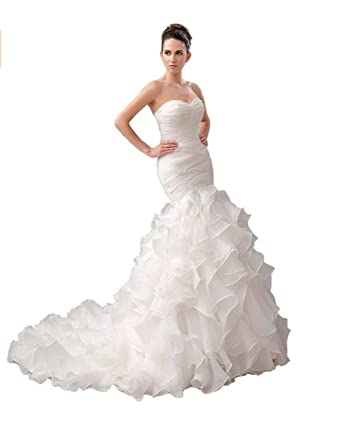e342a43d13f Ikerenwedding Women s Sweetheart Court Train Organza Mermaid Wedding Dress  With Ruffles White US2. Roll over image to zoom in