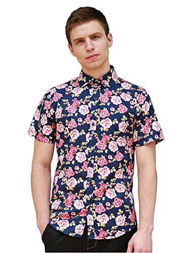 Allegra K Men Short Sleeve Button Down Floral Pattern Casual Shirts Multicolor L